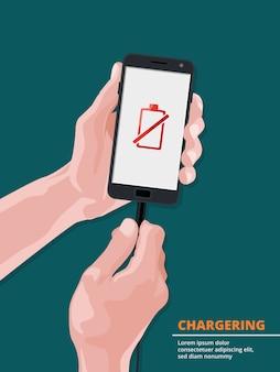 Homem segurando smartphone com imagem na tela de bateria fraca. ligue a bateria e recarregue o telefone. ilustração