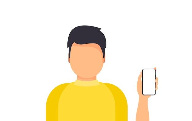 Homem segurando smartphone para celular. conceito de apresentação de telefone de smartphone de negócios. conceito de tecnologia do telefone móvel. homem mostrando ou segurando um novo telefone inteligente digital.