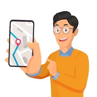 Homem, segurando, smartphone