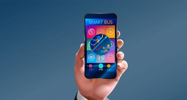 Homem, segurando, telefone, aplicações, para, telefone móvel