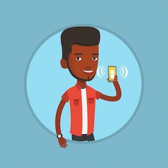 Homem segurando toque celular.