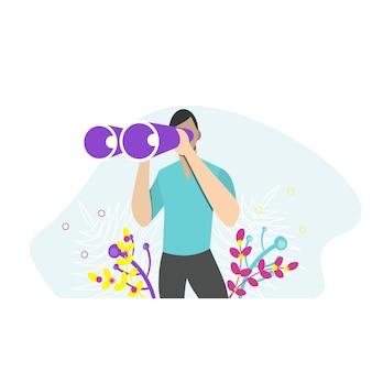 Homem segurando um enorme binóculo e olhando para o futuro. ilustração vetorial para observação, descoberta, conceito futuro. ilustração em vetor plana.