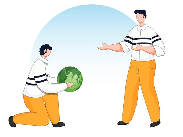 Homem segurando um globo verde com outra pessoa ficar em fundo azul e branco.