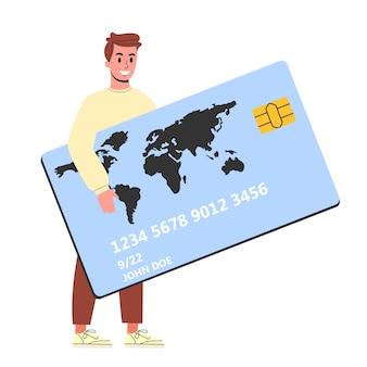 Homem segurando um grande cartão de crédito. ideia de banca e finanças. pessoa com um cartão. ilustração