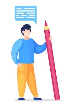 Homem segurando um lápis grande na mão e isolado no branco