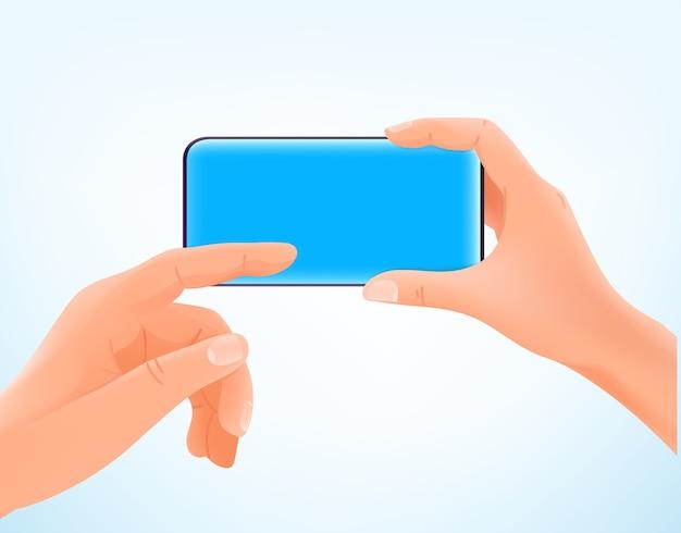 Homem segurando um smartphone moderno e tocando na tela