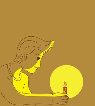 Homem, segurando, um, vela, com, luz, à noite
