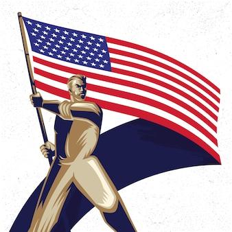 Homem segurando uma bandeira americana com ilustração vetorial de orgulho