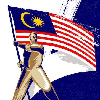 Homem segurando uma bandeira da malásia com ilustração vetorial de orgulho