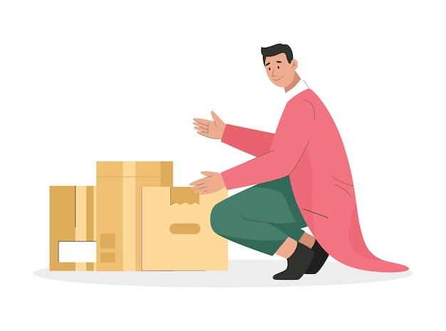 Homem segurando uma caixa de papelão com coisas