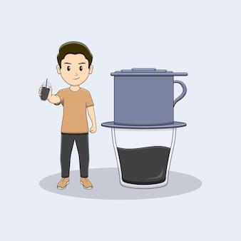 Homem segurando uma garrafa de café com design vietnam drip coffe