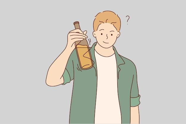 Homem segurando uma garrafa de cerveja e levantando uma torrada
