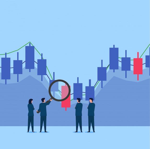 Homem segure ampliar no gráfico de negociação de ações para analisá-lo.
