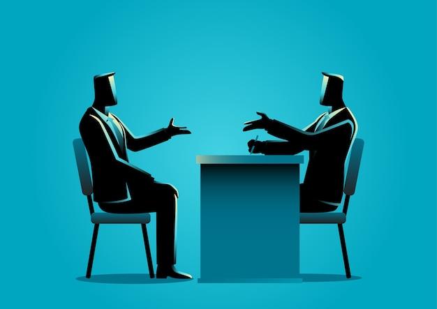 Homem, sendo, entrevistado, recruta