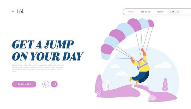 Homem sênior ativo paraquedista pulando com a página de destino do site de pára-quedas