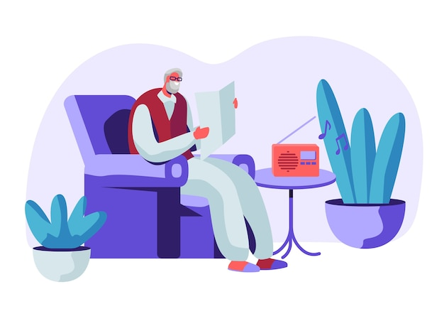 Homem sênior de cabelos grisalhos de óculos, sentado na poltrona, lendo jornal e ouvindo música no rádio. ilustração do conceito de personagem masculino idoso