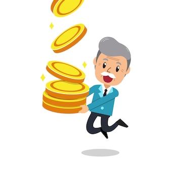 Homem sênior dos desenhos animados com grande pilha de moedas
