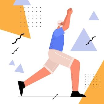 Homem sênior fazendo agachamento com idade, treinamento de esportista na academia, treino aeróbico, estilo de vida saudável, conceito de velhice ativo, ilustração vetorial de corpo inteiro