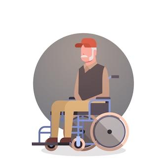 Homem sênior, ligado, roda, cadeira, avô, cabelo cinzento, macho, ícone