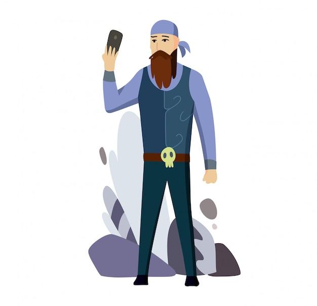 Homem sênior, motociclista, falando, célula, esperto, telefone, apartamento