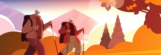 Homem sênior, mulher, alpinistas viajando junto com mochilas ativas, idade avançada, atividades físicas conceito pôr do sol paisagem fundo retrato ilustração vetorial horizontal