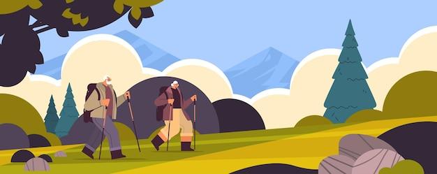 Homem sênior, mulher, caminhantes viajando juntos com mochilas ativas, idosos, atividades físicas, conceito, paisagem, fundo, comprimento total, horizontal, vetorial