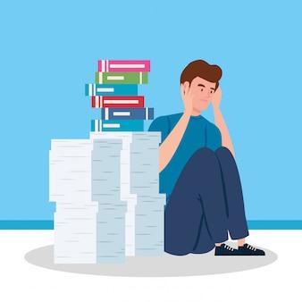 Homem sentado com ataque de estresse e pilha de documentos