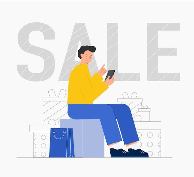Homem sentado com pacotes e compras online, com sacola de compras.