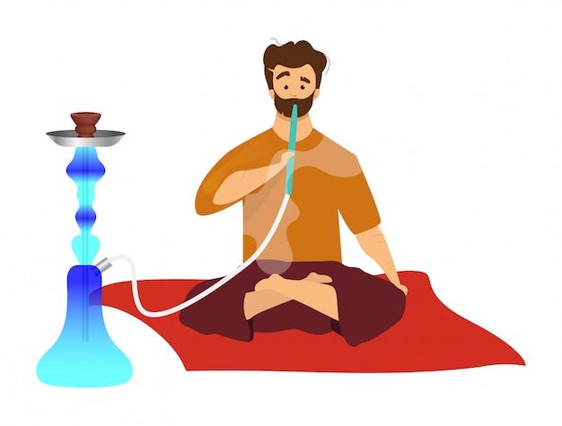Homem sentado e fumando cachimbo de água cor plana vector sem rosto. turista com sheesha egípcia, hooka. hábito tradicional oriental, cultura árabe de fumar isolado ilustração dos desenhos animados em branco