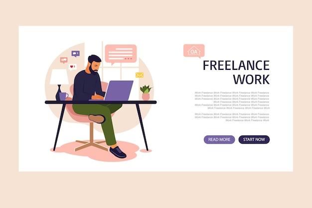 Homem sentado em um sofá e trabalhando online em casa. trabalho em casa. página de destino. freelance, educação online ou conceito de mídia social.