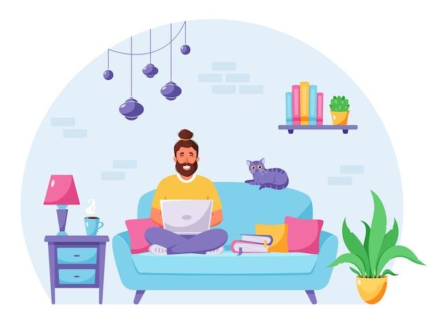 Homem sentado em um sofá trabalhando em um laptop, escritório doméstico freelancer
