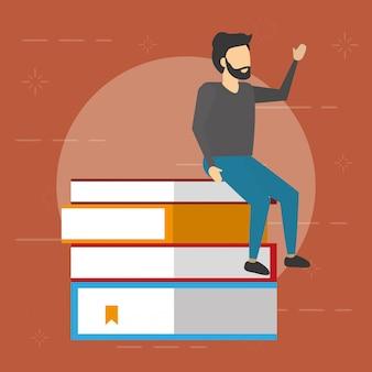 Homem sentado em uma pilha de livros, estilo simples