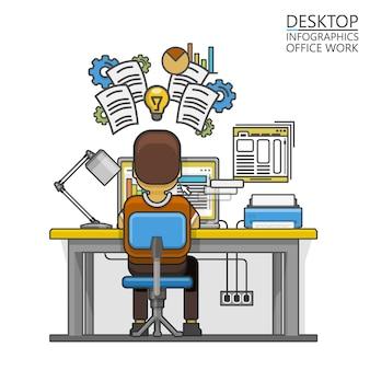 Homem sentado na área de trabalho e trabalhando no computador. ilustração vetorial