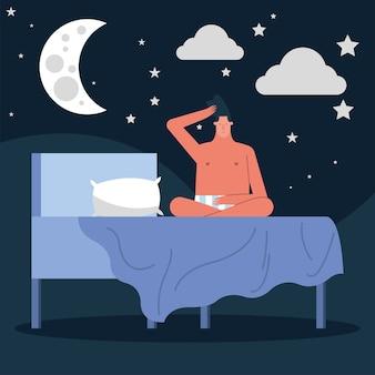 Homem sentado na cama, cena noturna sofrendo de insônia, desenho de ilustração vetorial de personagem