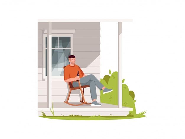 Homem sentado na poltrona no pátio, ilustração colorida semi rgb