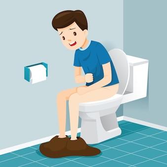 Homem sentado no banheiro, sofrendo de diarreia e dores abdominais