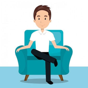 Homem sentado no ícone do sofá