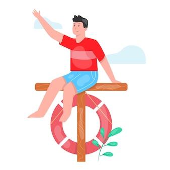 Homem sentado no mastro com anel de borracha rosa vermelha