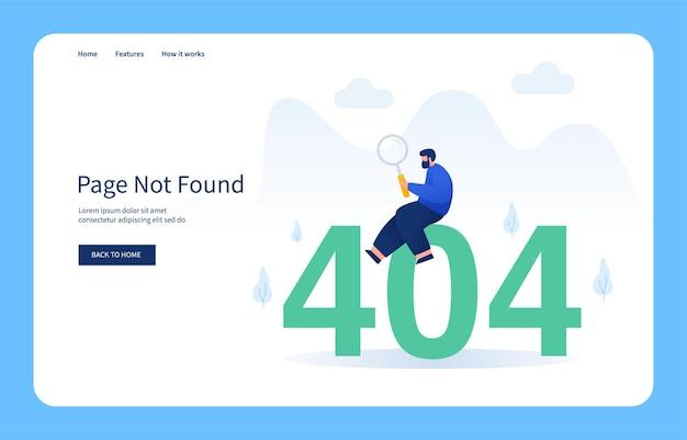 Homem sentado no número 404 segurando a página da lupa não encontrada estado vazio