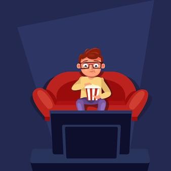 Homem sentado no sofá assistir tv comendo pipoca