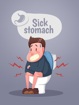 Homem sentado no vaso sanitário com dores de estômago e diarréia. personagem sentado no vaso sanitário. vetor
