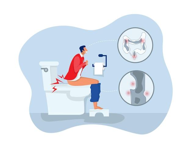 Homem sentado no vaso sanitário e sofrendo de hemorróidas. problema com saúde, sentindo-se mal. ilustração em vetor plana