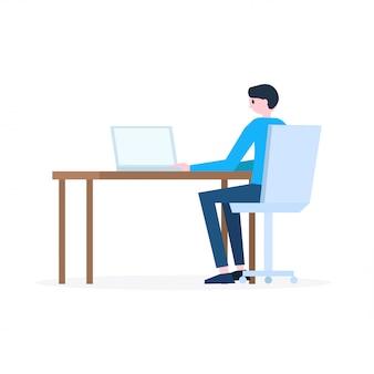 Homem, sentando, em, local trabalho, com, laptop