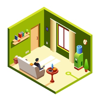 Homem, sentando, ligado, sofá, sofá, descansar, segurando, smartphone, almoço, tabuleta, em, tabela de cabeceira