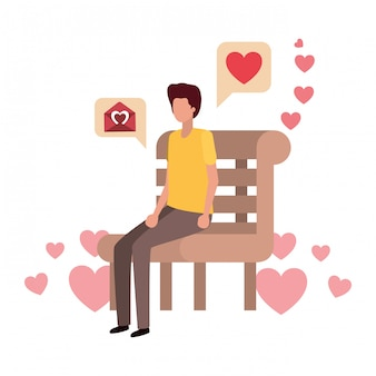 Homem, sentando, parque, cadeira, corações, personagem