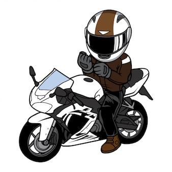 Homem sente-se no desenho animado da bicicleta do esporte. ilustração de motocicleta