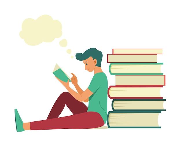 Homem sente-se perto da pilha de livros grandes para ler um livro e ter uma boa ideia Vetor Premium