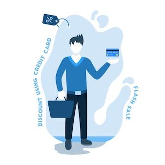Homem, shopping, usando, crédito, cartão, ilustração