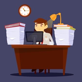 Homem sobrecarregado. empresário exausto