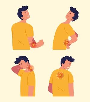 Homem sofrendo de artrite em diferentes partes do corpo